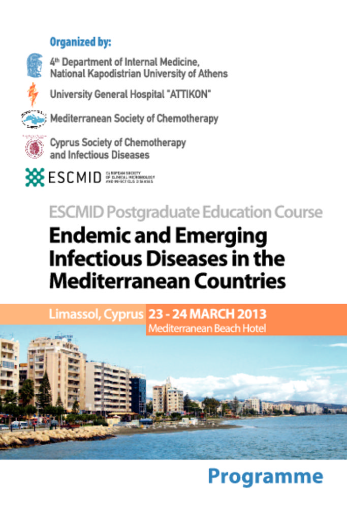 Endemic and Emerging Infectious Diseases in the Mediterranean Countries ESCMID_Postgraduate_EC_Programme_6-3-2013-pdf